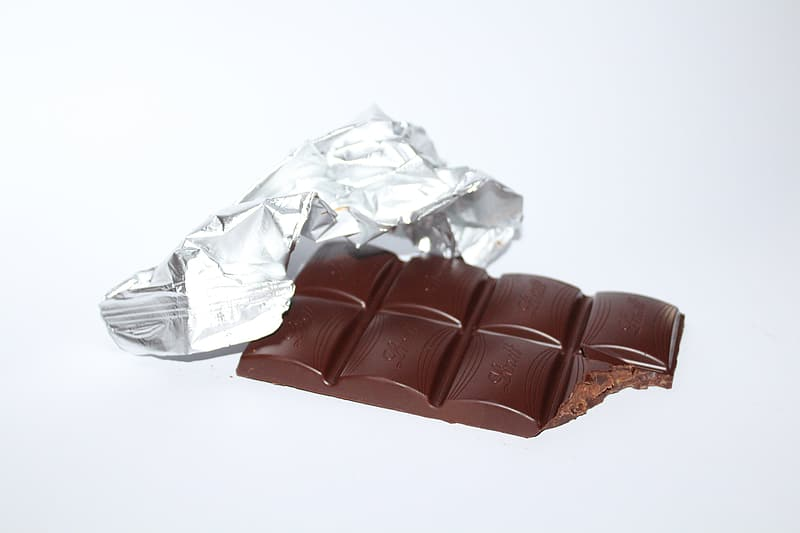 Chocolate bar and gray foil