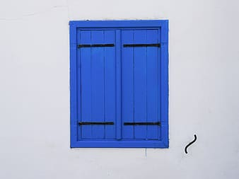 Blue wooden casement window