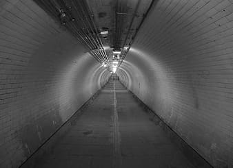Photography of tunnel with lighted light