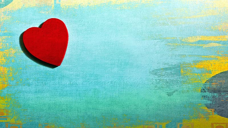 Red hearts on green and yellow background