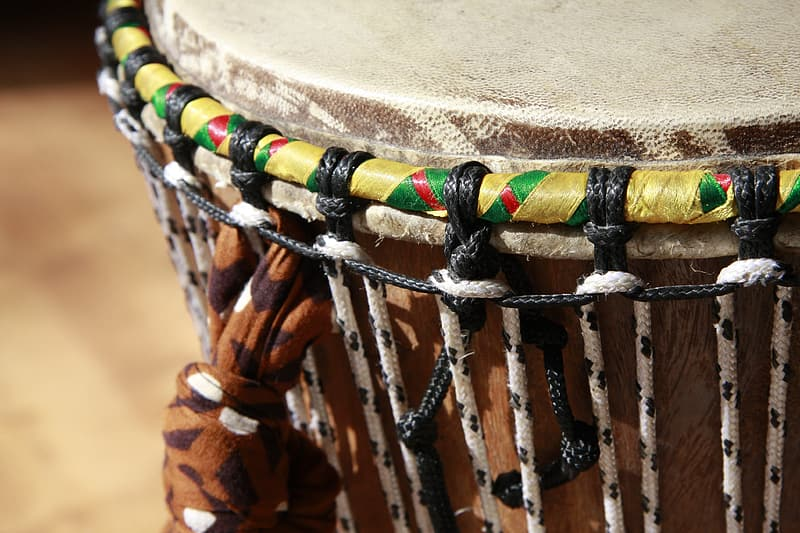 Selective focus photography of percussion instrument