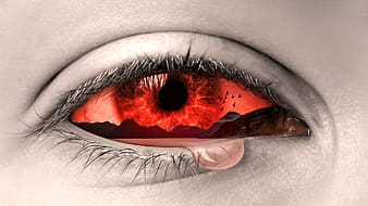 Red eye with tears photo