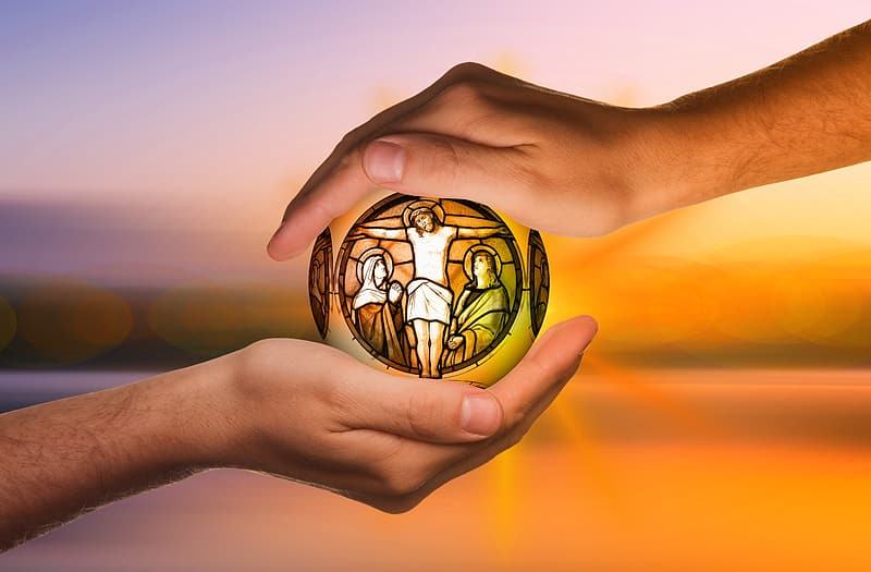Person hands with Jesus Christ in Cross illustration