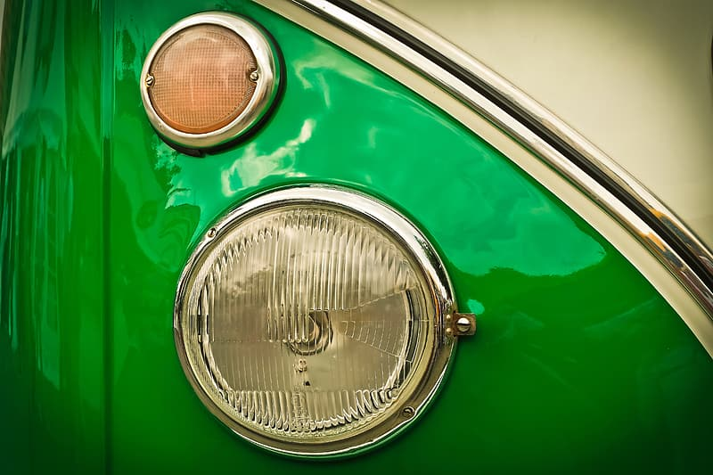 Green and silver car headlight