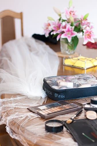 Makeup palette on table