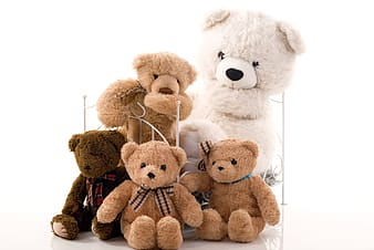 Assorted-size white and brown teddy bears