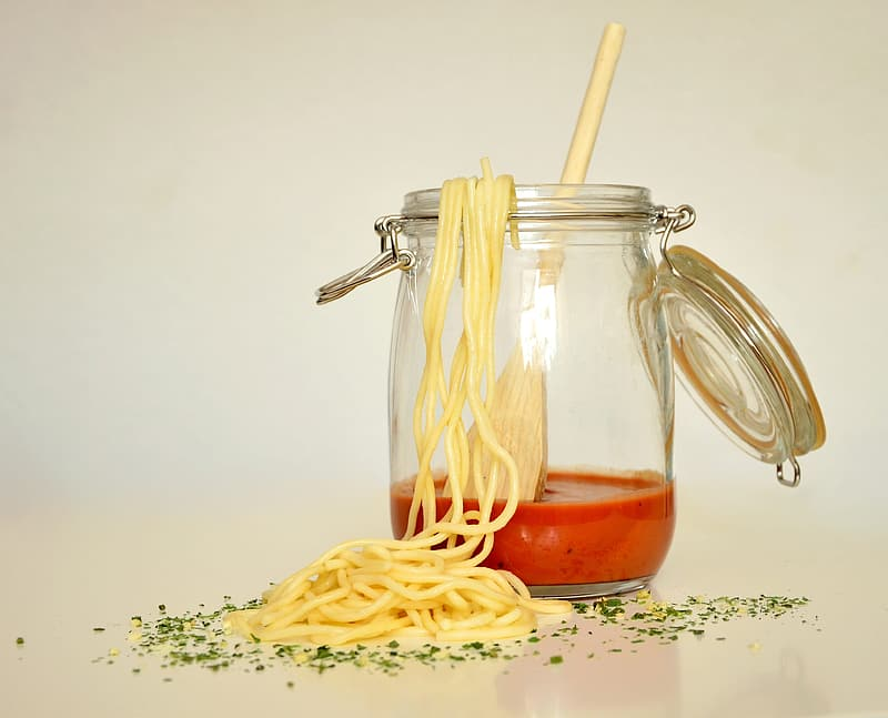 Pasta and clear canister