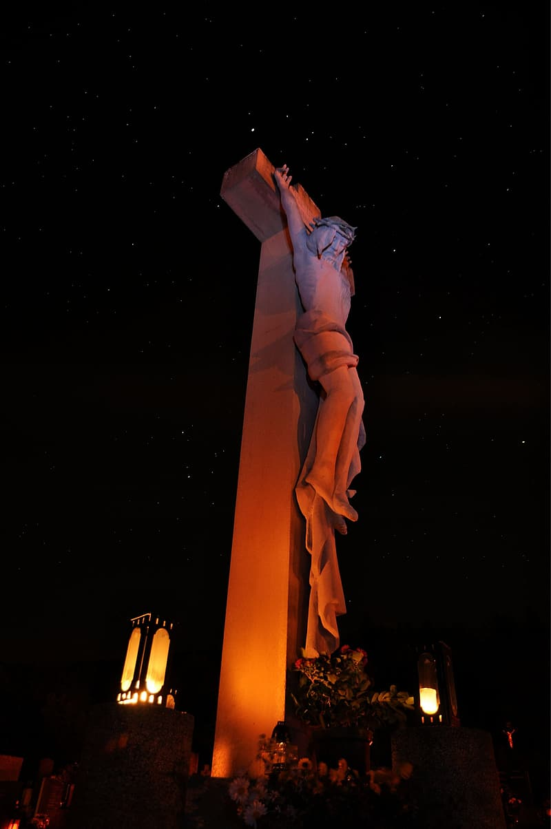 View of crucifixion statue
