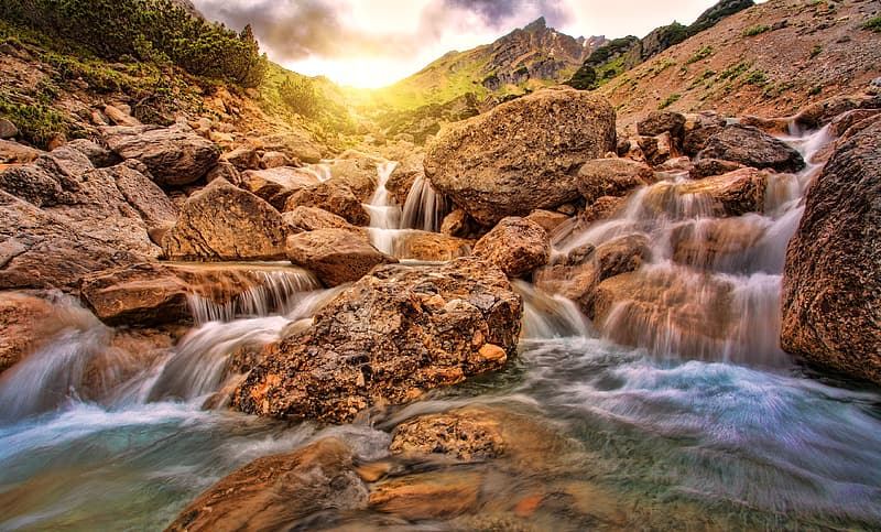 Time lapse photography of falls during golden hour time