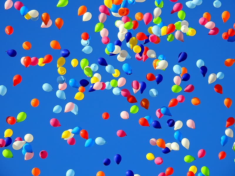 Flying balloons up in the air