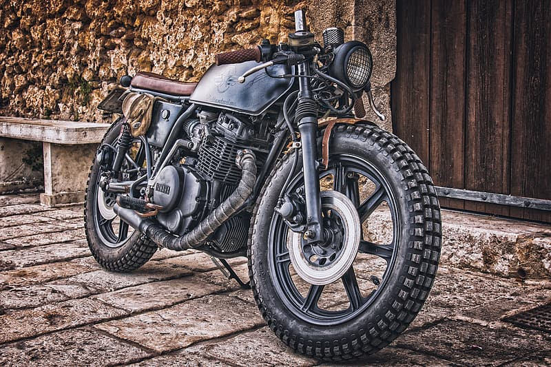 Black and brown standard motorcycle