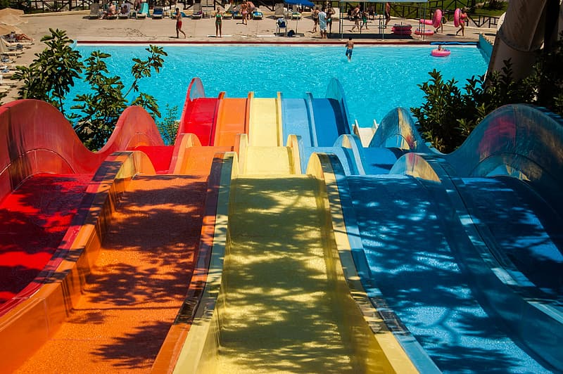 Photo of assorted-color pool slides