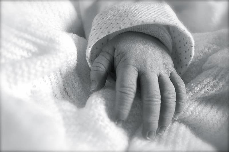 Greyscale photography of baby's hand