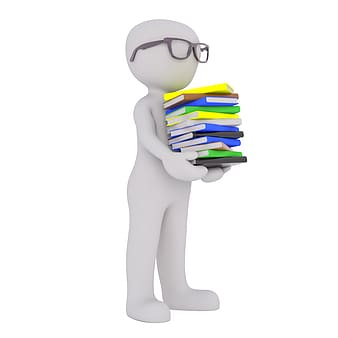 Illustration of man carrying books