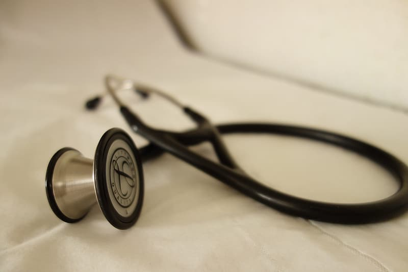 Black and silver stethoscope