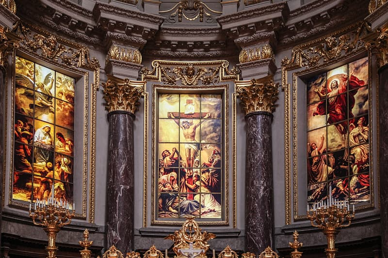 Photo of religious paintings inside church