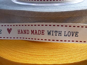 White Hand made with love strap