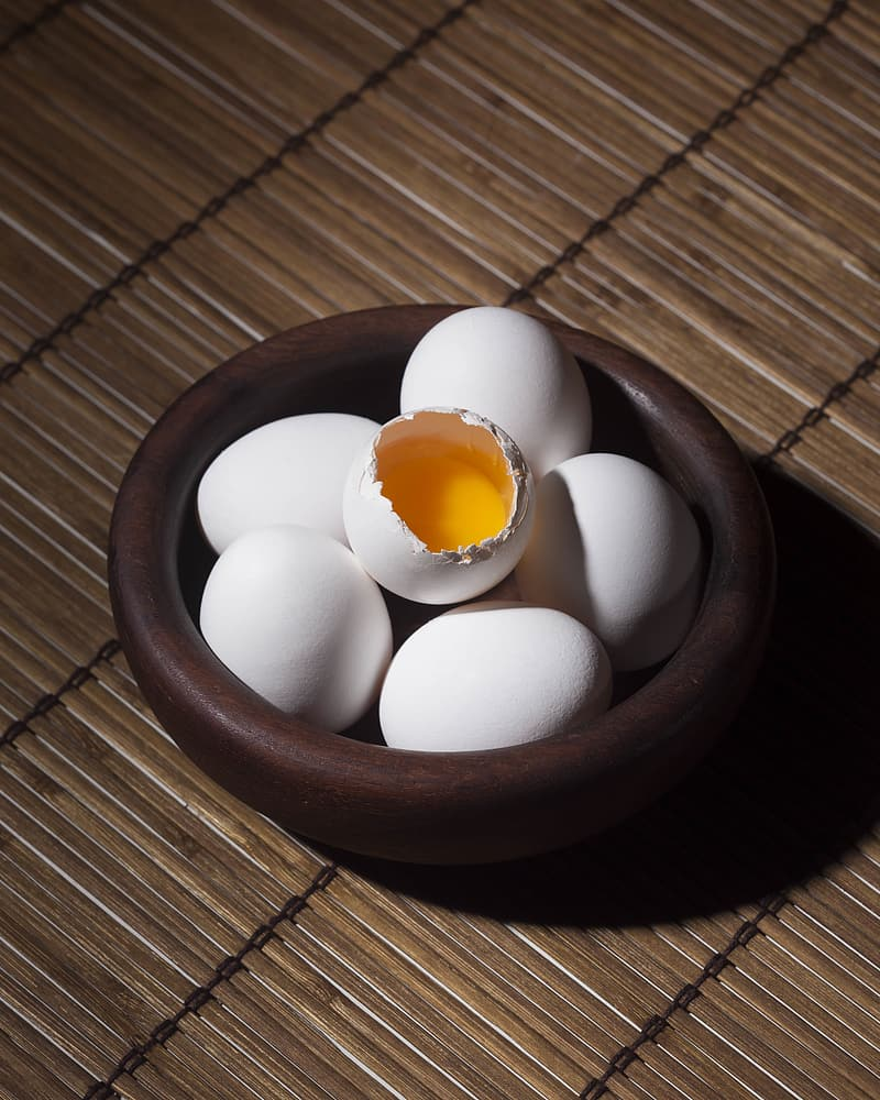 Bowl of raw eggs