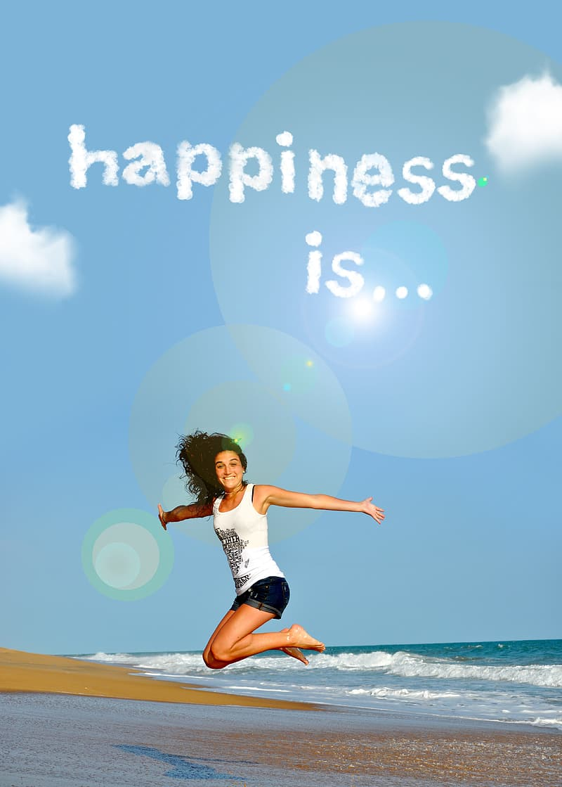 Woman in white jumping with with text overlay