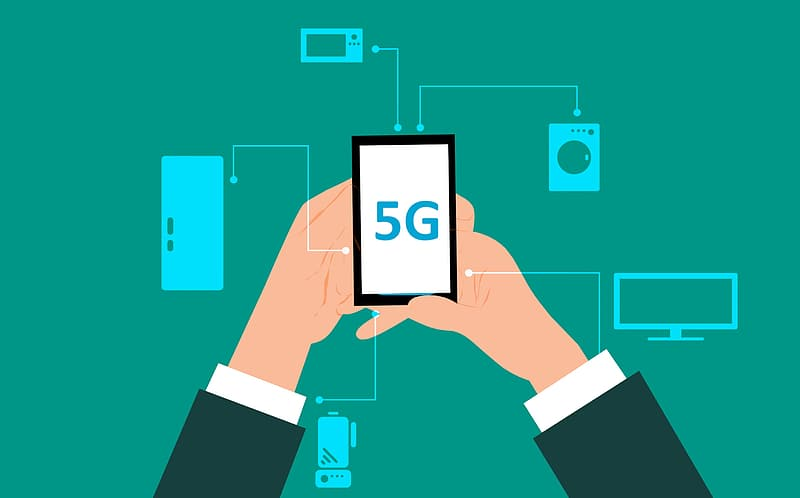 Mobile phone using new 5G network for increased performance.