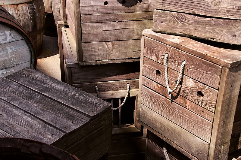 Brown wooden box lot close-up photography