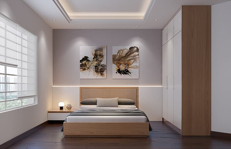 White and brown bedroom interior