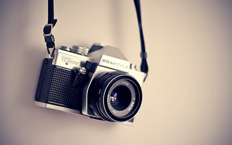 Black and Praktica DSLR camera