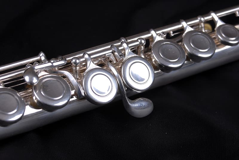 Closeup view of wind instrument