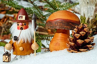 Brown and white mushroom ornament