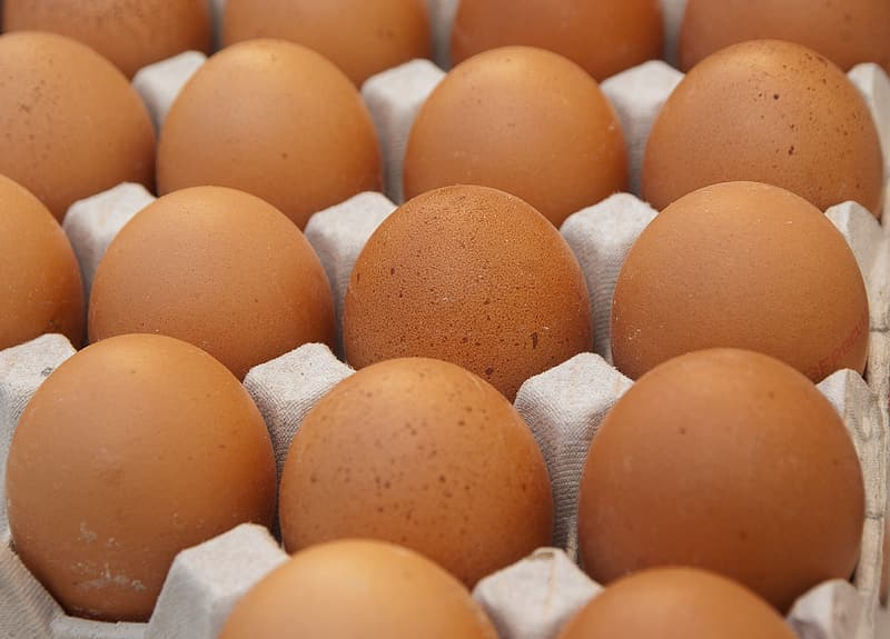 Close-up of tray of brown eggs