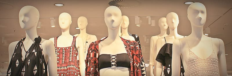 Mannequin with dresses