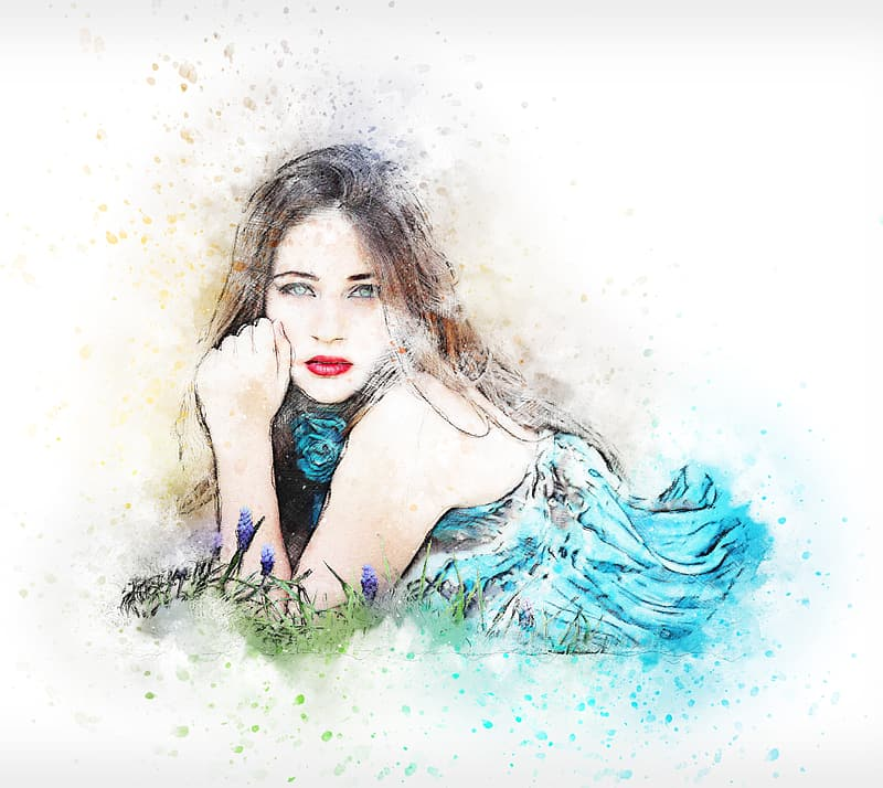Woman in blue dress painting