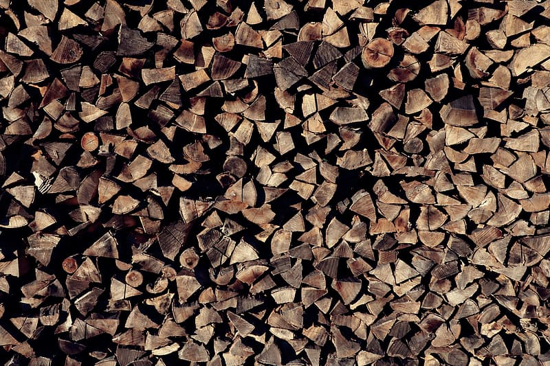 Pile of brown firewoods