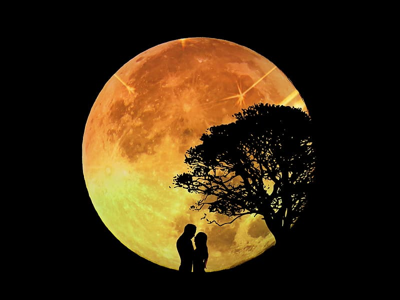 Silhouette of couple under full moon