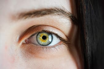 Portrait photography of woman's yellow and gray eye