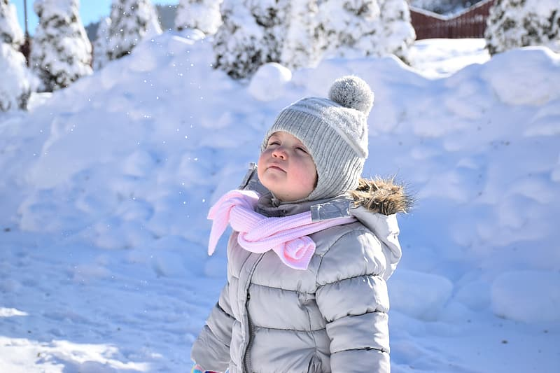 Girl wearing gray puffer hooded jacket and knitted bobble hat