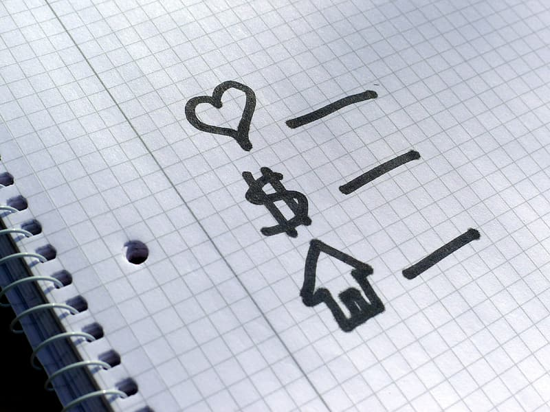 Heart, dollar sign, and house written on lined paper