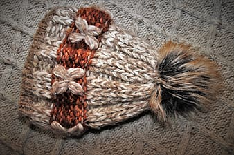 White black and brown knit textile