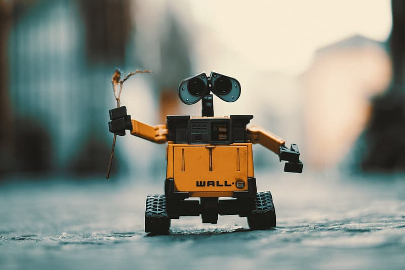 Close-up photography of WALL E robot