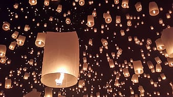 Candle balloons during nightime