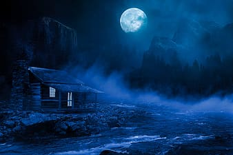 House under the moon