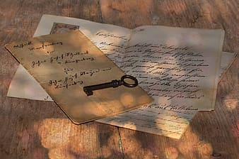 Brown key on message paper