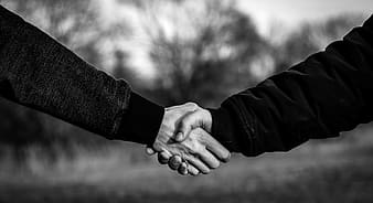 Grayscale photo of 2 person holding hands