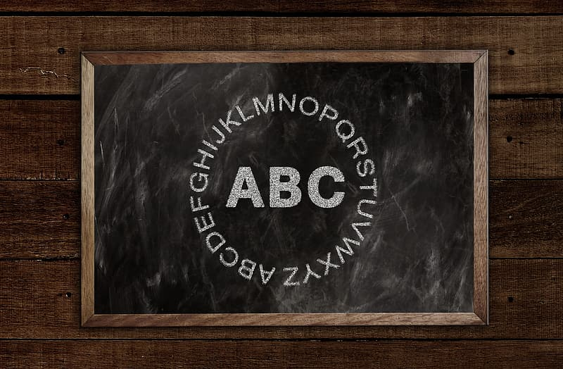 Black and brown chalkboard with alphabet