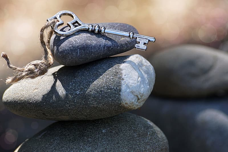 Key placed on stack stones