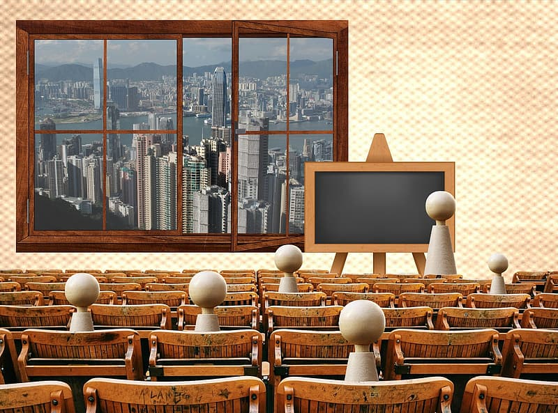 Wooden chairs with blackboard illustration