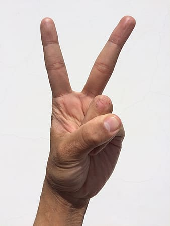 Peace human hand sign