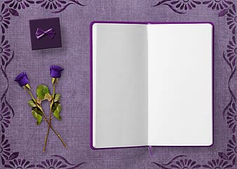 Purple notebook and purple roses