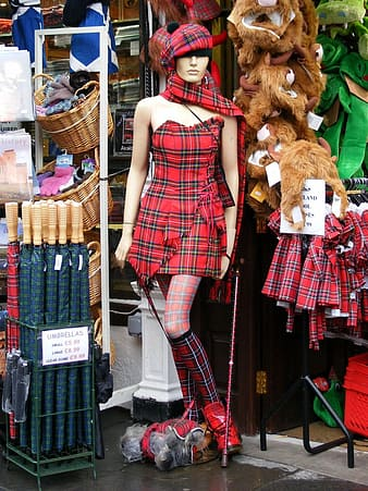 Mannequin in red and white plaid sleeveless dress