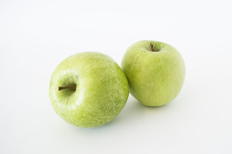 Two green apple fruits